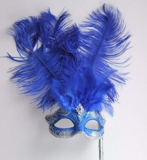 Silver and Blue Masquerade Mask - Feather Mask | Masks and Tiaras